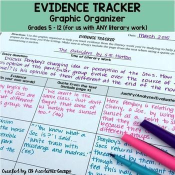 Use this great Evidence Tracker Graphic Organizer to help your students find and analyze evidence from any unit you're studying! Great to use as a writing tool for your students!