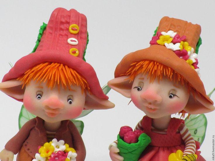 Купить Люси и Гуня - комбинированный, глина, ливингдолл, краски акриловые, пастельные цвета, глина полимерная