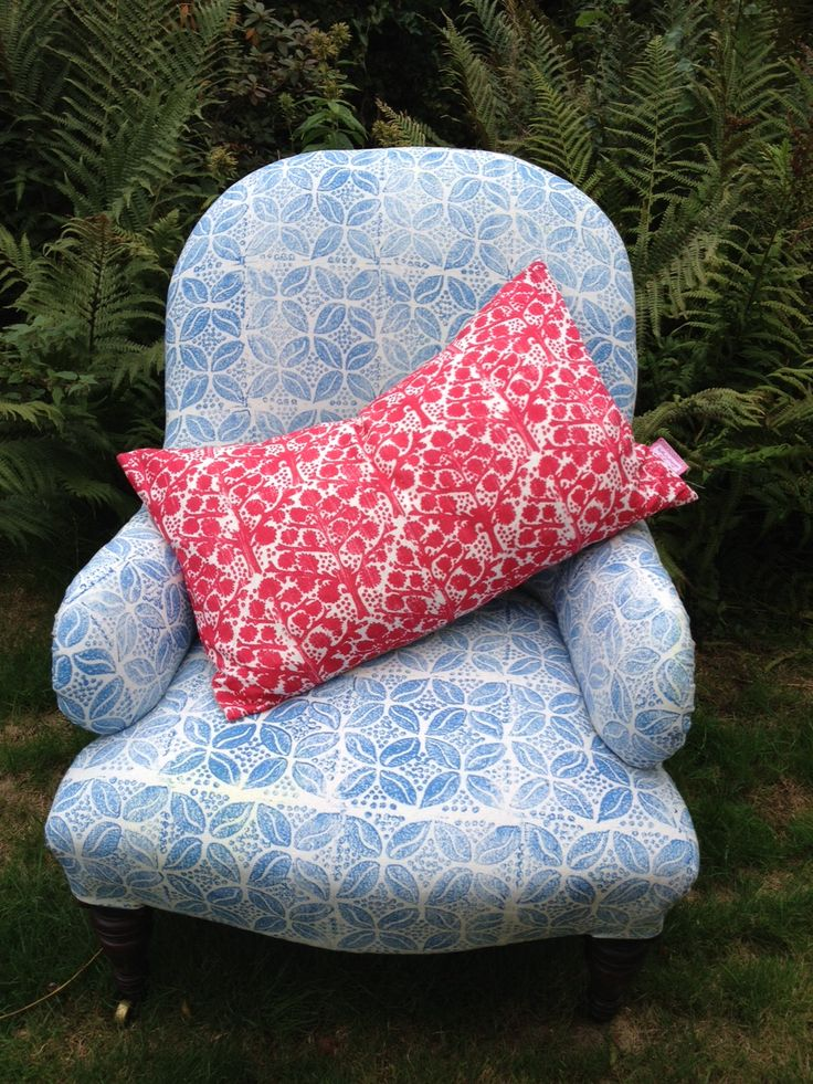 Hand block printed chair fabric from Molly Mahon