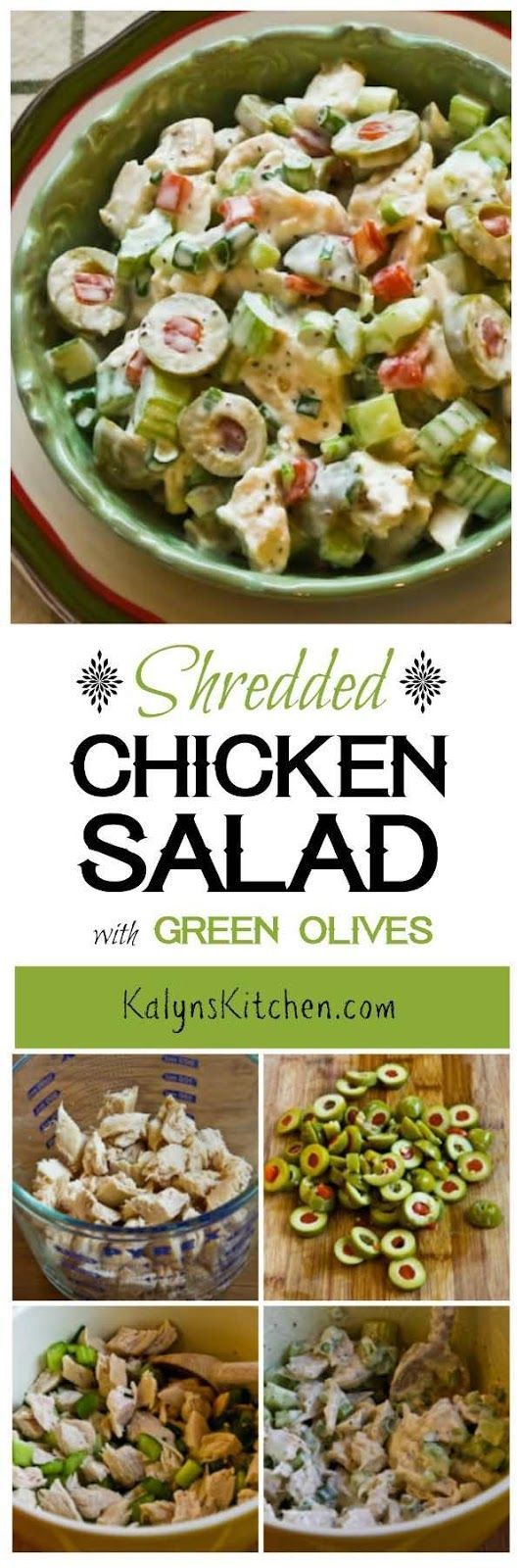 Shredded Chicken Salad with Green Olives, Celery, and Green Onion is a perfect low-carb salad with Christmas colors, but this salad is great any time of year.  [found on KalynsKitchen.com]