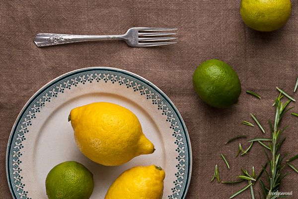 In the picture: lemon, lime, rosemary. Old Sarreguemines plate and beautiful Harmony House Plated fork. More on my blog - lovelyserved.blogspot.com