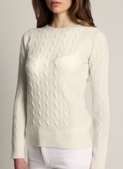 Women's Cable O-neck Off W100 % Cashmere  www.softgoat.com