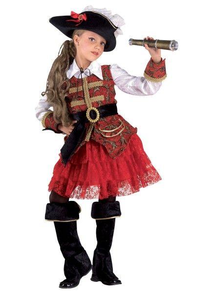 Kostüm Mädchen Piratin - Piratin Kinderkostüm mit Hut