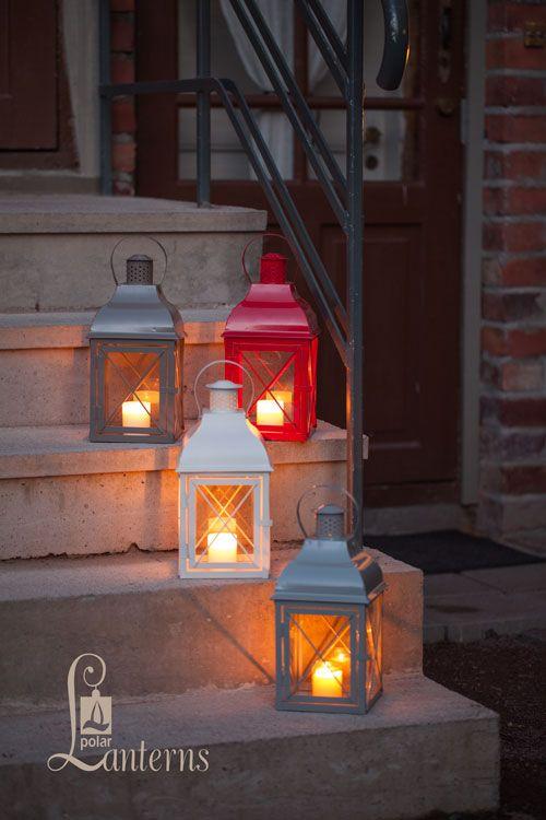 268641 Lydia lyhty, harmaa, valkoinen, punainen ja hiekka, 34cm / Lydia lanterns