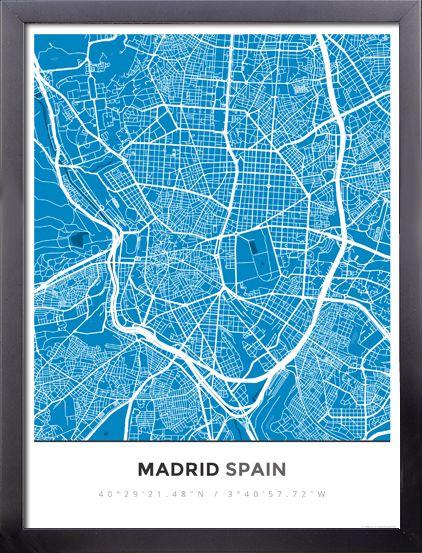 Framed Map Poster of Madrid Spain - Simple Blue Contrast - Madrid Map Art