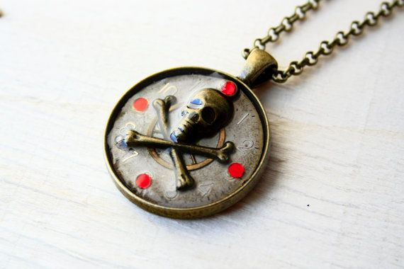 Steampunk/Gothic pendant with clock parts by JeanneNoireRepunked
