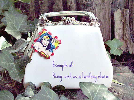 Handmade one of  a kind wonderwoman choker charm by ellethekitty, $12.00