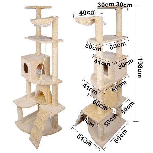 Multi Level Cat Scratching Poles Tree with Ladder Beige