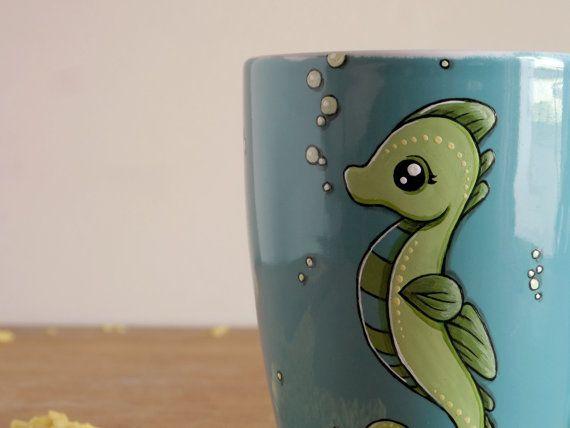 Seahorse Mug Teal mug with seahorse Christmas in by vitaminaeu