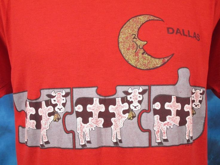 vintage 80s DALLAS TEXAS COW MOON CARTOON PAPER THIN T-Shirt MEDIUM/LARGE cowboy #ScreenStars #GraphicTee