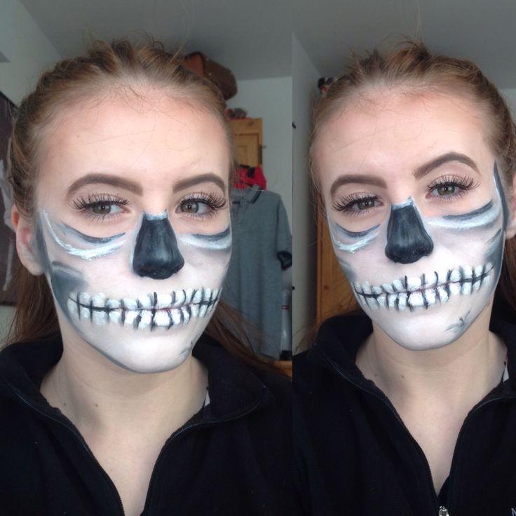 Half a skeleton look💀 #halloween #skeleton #mua