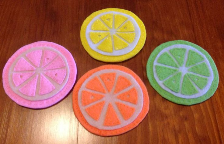 Cool citrus felt coasters from Purple Patch Art and Crafts