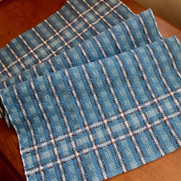 Handwoven Chef Kitchen Towel Dish Hand Woven Cotton Linen Blue White Gray Large Block Twill by WovenTogetherCrafts on Etsy