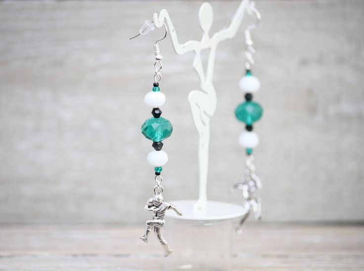 Excited to share the latest addition to my #etsy shop: Green, White and Black Football Team Color Dangle Earrings.  Philadelphia Eagle. Leverback Earring Hooks. Handmade Jewelry. #jewelry #earrings #green #lowcostjewelry #teamcolorjewelry #madeinusa #earwire #white #sports
