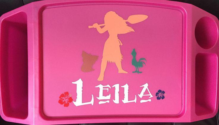 Personalized Moana Movie Character Monogram Kid's Plastic Lap Tray, Desk, H Heihei, Pua, birthday, school, Christmas, car, food, toys, girl
