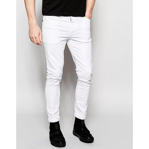 Dark Future Super Skinny Jeans In White ($48) ❤ liked on Polyvore featuring men's fashion, men's clothing, men's jeans, white, mens super skinny jeans, mens white jeans, mens white skinny jeans, mens skinny fit jeans and tall mens jeans