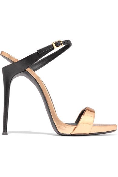 Heel measures approximately 110mm/ 4.5 inches Rose gold and black leather Buckle-fastening strap Made in Italy