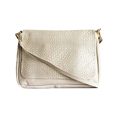 Cora Italian Cream Leather Cross Body Satchel Bag - £64.99