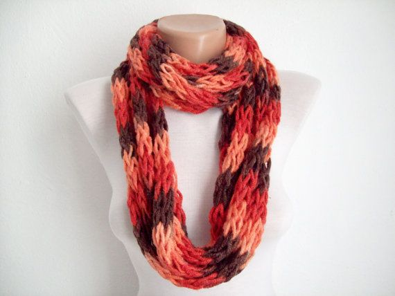 Finger Knitting Scarf Red Brown  Multicolor Necklace by nurlu, $14.00
