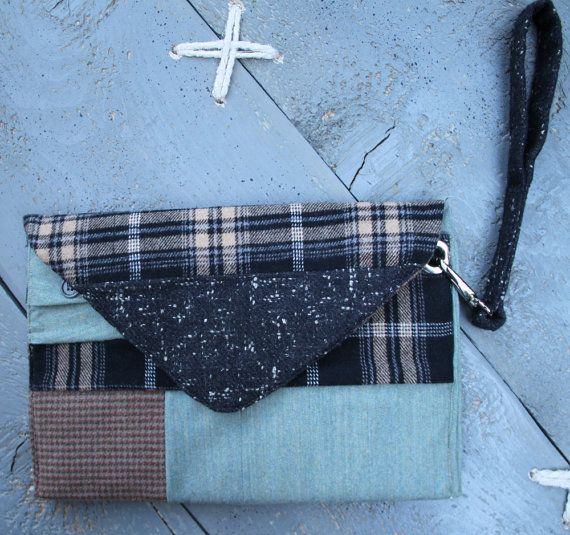 'Eating the goober' handmade everyday ipad case made from recycled men's clothes and brand-new textiles.It can also be used as a stylish envelope purse. Colors different shades of grey, beige , light green, black