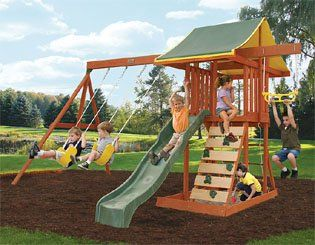 Amazon.com: Ready to Assemble Wooden Swing Set. Cedar Wood Swingset, Climbing Wall and Sand Box. Wood Swing Set SALE !!!! 2 Swings, Chalk Wall and More. Heavy Duty Wooden Swing Set includes 10YR Warranty.: Toys & Games