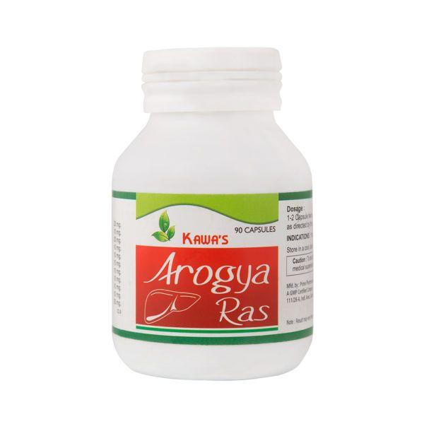 Kawa Arogya Ras is a Ayurvedic medicine in tablet form. Each Capsule contains Rohitak : 30 mg, Revan Chini : 40 mg, Kachur : 20 mg, Mulathi : 20 mg, Amla : 20 mg, Rasot : 20 mg, Kasani Ext. : 20 mg, Pitapapra Ext. 10 mg, Jhau Ext. : 10 mg, Harer Ext. : 20 mg, Punarnava : 20 mg, Kalmeg : 20 mg, Bhangra : 20 mg, Kutki : 20 mg, Chirata : 10 mg, Loh Bhasam : 20 mg, Saptparn : 10 mg, Sanai : 10 mg, Jeevanti : 10 mg, Nayayasloh : 10 mg, Yavakshar : 10 mg, Anant Mul : 10 mg