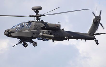 AH-64D Apache Longbow, is equipped with a glass cockpit and advanced sensors, the most noticeable of which being the AN/APG-78 Longbow millimeter-wave fire-control radar (FCR) target acquisition system and the Radar Frequency Interferometer (RFI), housed in a dome located above the main rotor.[231][232] The radome's raised position enables targets detection while the helicopter is behind obstacles (e.g. terrain, trees or buildings).