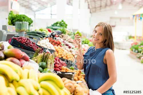 Woman shopping for fruits