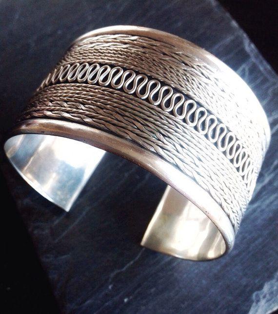 Armreif Silber Manschette Armband breit Armreif von LouSimArt