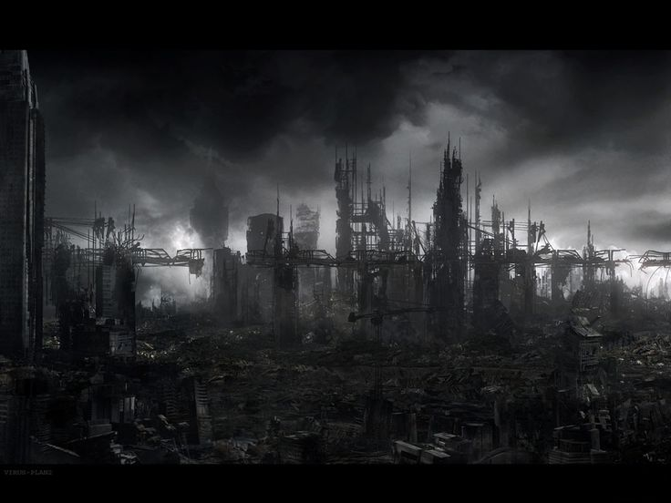 the overworld (?)  a city destroyed by war, separated from the evil kinky bitch's kingdomlandthingy by a forest covered in ash