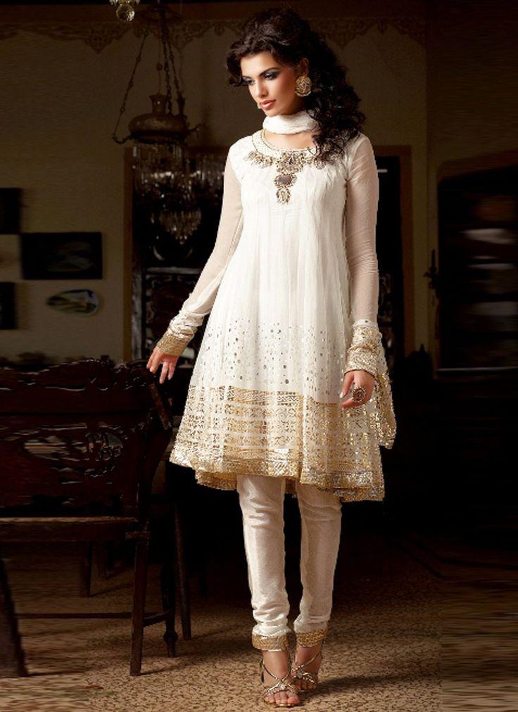 Anarkali #white #gold