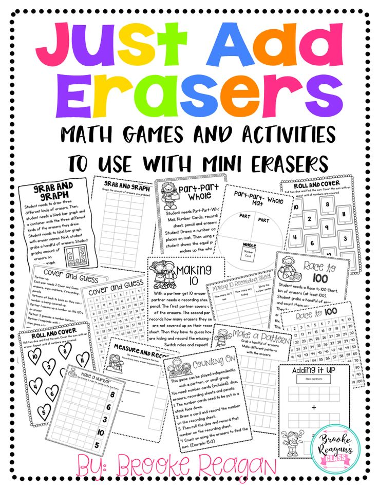 Do you have a whole bunch of mini erasers either from the Target Dollar Spot or other stores and just don't know what to do with them all? Well I have created over 15 math games and activities that work perfect will all those fun little erasers. These games and activities are super fun and engaging.
