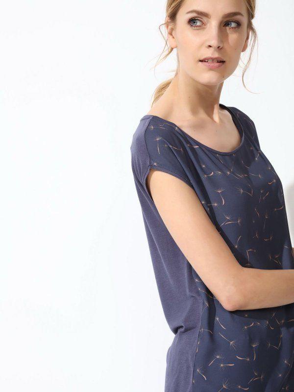 W2017 t-shirt krótki rękaw damski   granatowy - SPO3044 TOP SECRET