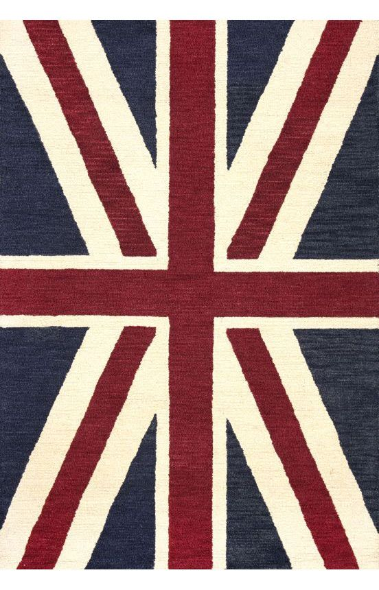 $5 Off when you share! Santa Ana Union Jack Denim Rug | Contemporary Rugs #RugsUSA
