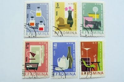 And for reference, some stamps actually designed in the '50s. From Romania and…