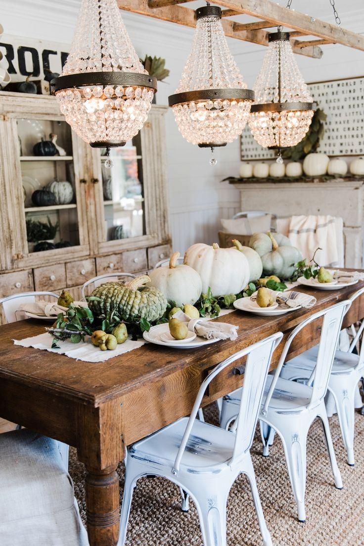 Rustic heirloom pumpkin and pear farmhouse table centerpiece