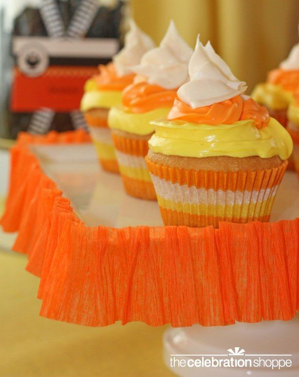 Candy corn cupcakes from blog.thecelebrationshoppe.com + instructions on how to make them safe for food allergies suffers!