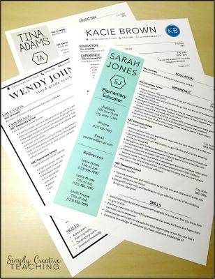 Teacher Resume Templates by @kfret - Simply Creative Teaching