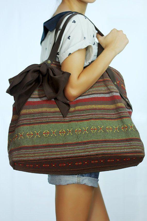 Large Brown Ikat Tote Bag with Ribbon / Ikat Hobo Bag / Summer Beach Bag shopping bag Boho Hippie ethnic gypsy woven tapestry hobo bag