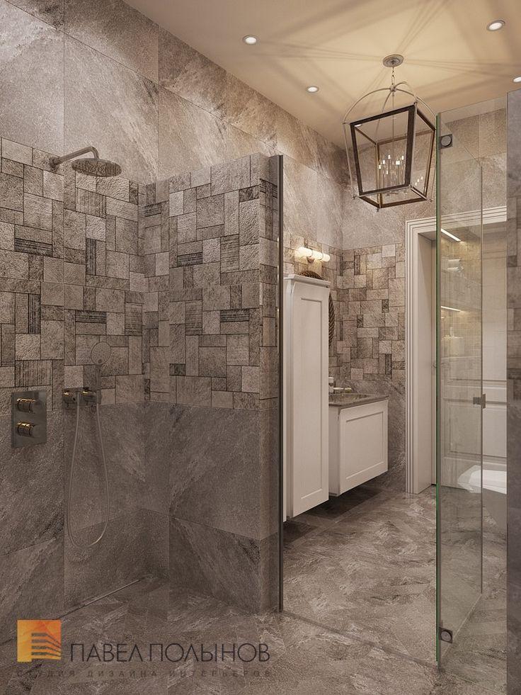 Фото: Дизайн интерьера душевой комнаты - Интерьер загородного дома в стиле американской неоклассики, п. Токсово, 215 кв.м.