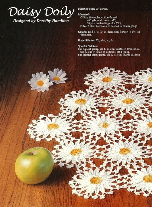 X863 Crochet PATTERN ONLY 3 Doily Pattern Daisies by BeadedBundles, $7.95