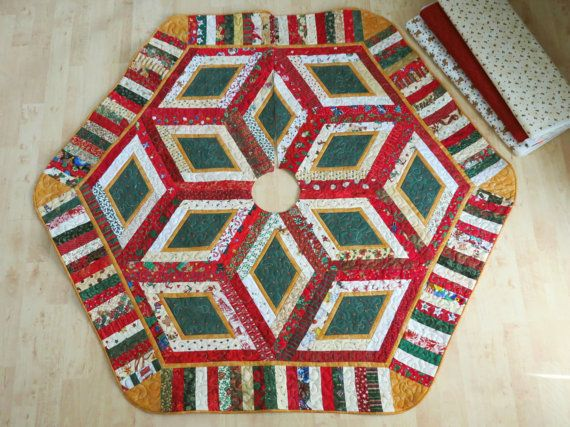 Quilted Christmas Tree Skirt Quilt Scrap Rail 480