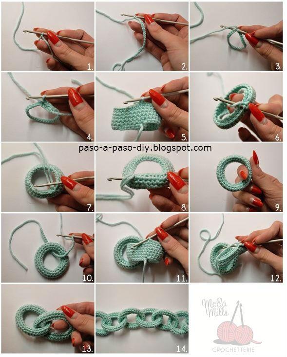 Con el estambre que elijas, y aguja de gancho apropiada, realiza una cadena de 10 cm de largo, a la...