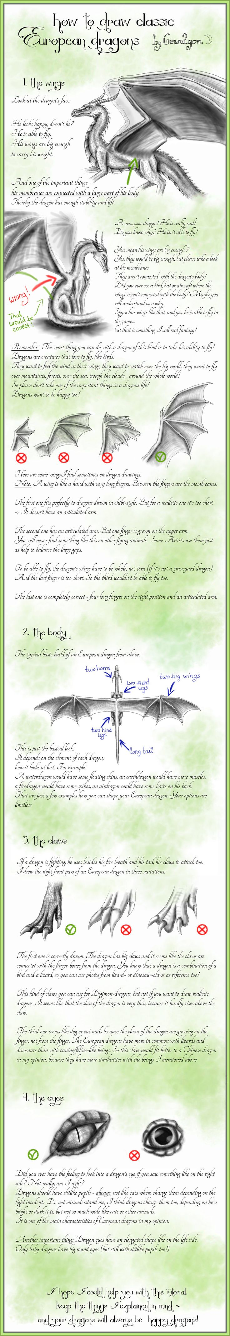 How to draw Classic European Dragons by Gewalgon