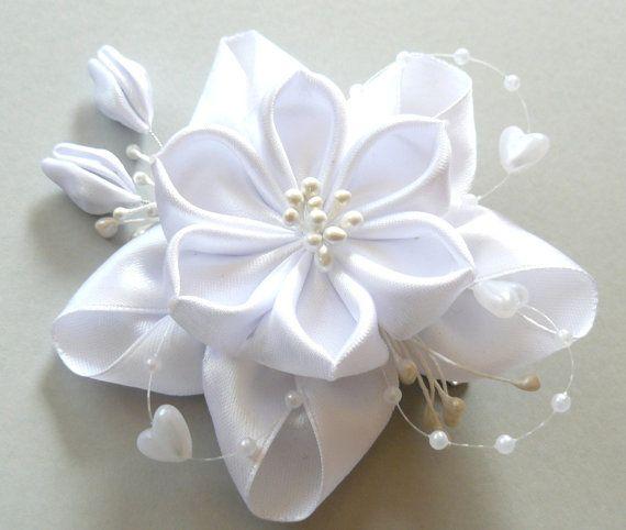 White Bridal Kanzashi Fabric Flower hair clip . Bridal by JuLVa, $25.00