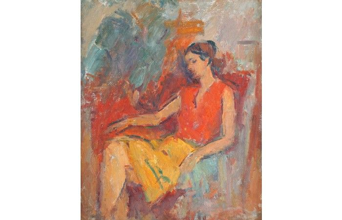 LOT 42 ION MUSCELEANU The Red Blouse [1989] Oil on canvas laid on cardboard 55 × 45.5 cm (21.7 × 17.9 inch) Estimate €800 - €1,400 Starting price €700 www.lavacow.com