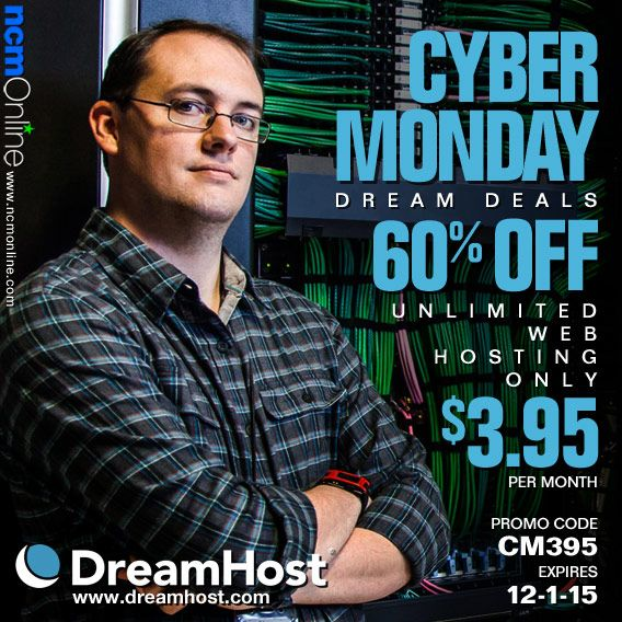 Use the DreamHost Cyber Monday promo code above to get award-winning web hosting for only $3.95/month for the annual plan.