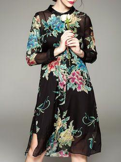 Slit Silk Two Piece Midi Dress
