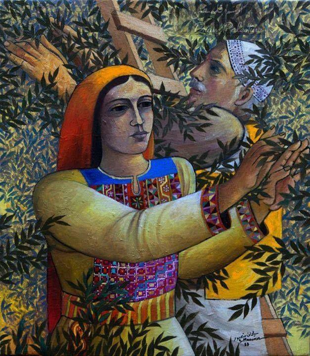 لوحة قطف الزيتون - من اعمال الفنان سليمان منصور .. Olive Harvest - By Artist Suliman Mansour ..