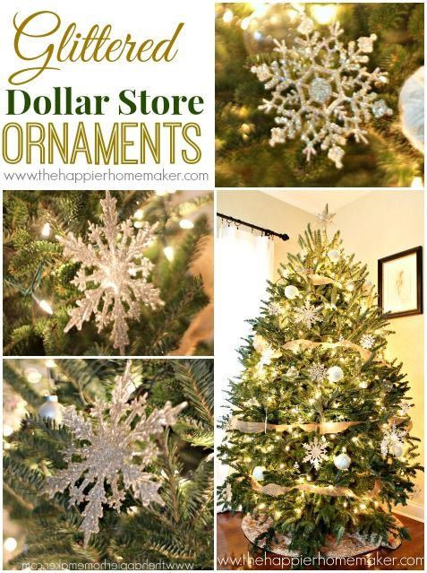 how to make glittered dollar store ornaments